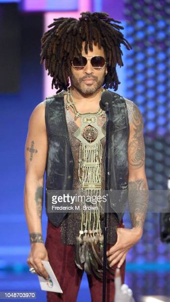 Lenny Kravitz speaks onstage during the 2018 American Music Awards at Microsoft Theater on October 9 2018 in Los Angeles California