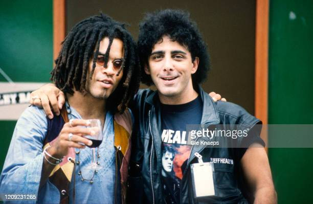 Lenny Kravitz with drummer Tom Stephen from The Jeff Healey Band, backstage, Torhout/Werchter Festival, Werchter, Belgium, 8 July 1990.