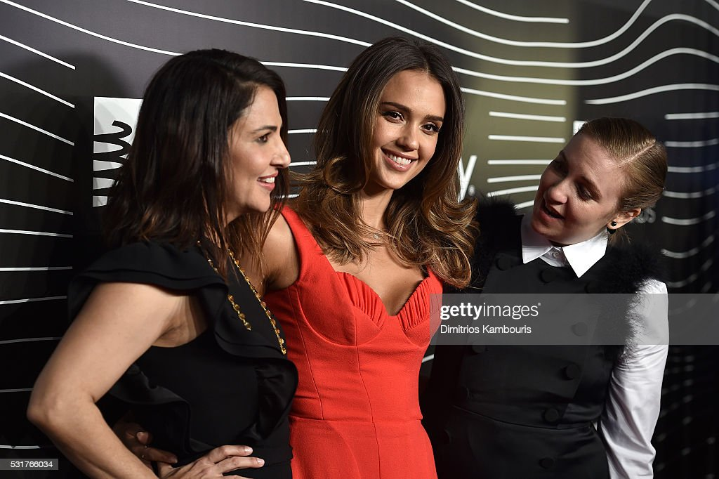Lenny Letters, Girls Jenni Konner, Lena Dunham and actress Jessica Alba (C) attend the 20th Annual Webby Awards at Cipriani Wall Street on May 16, 2016 in New York City.