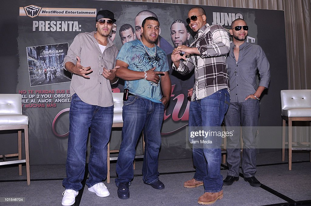 Lenny, Max, Romeo and Henry of the Aventura Group during a press conference to present their concert at St. Regis Hotel on June 1, 2010 in Mexico City, Mexico.