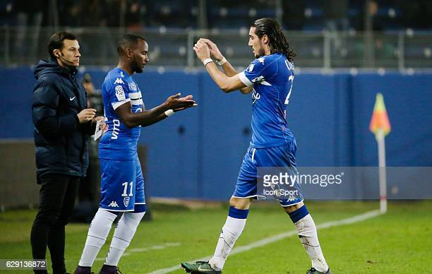 Lenny Nangis and Enzo Crivelli of Bastia during the French Ligue 1 match between Bastia and Metz at Stade Armand Cesari on December 10 2016 in Bastia...