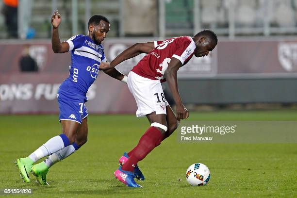 Lenny Nangis of Bastia and Check tidiane Diabate of Metz during the Ligue 1 match between Fc Metz and SC Bastia at Stade SaintSymphorien on March 17...