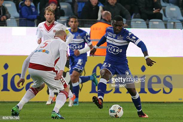 Lenny Nangis of bastia and Nicolas palois of bordeaux during the Ligue 1 match between SC Bastia and FC Girondins de Bordeaux at Stade Armand Cesari...