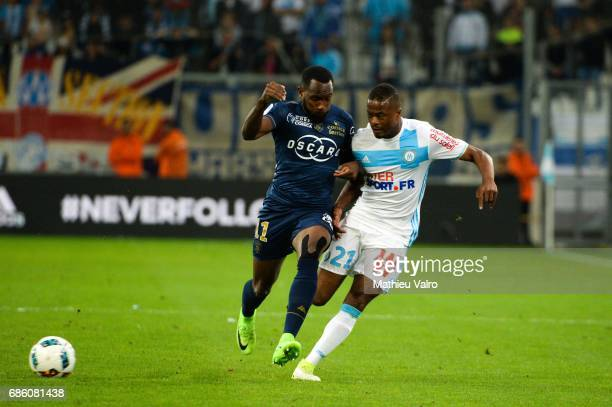 Lenny Nangis of Bastia and Patrice Evra of Marseille during the Ligue 1 match between Olympique de Marseille and SC Bastia at Stade Velodrome on May...