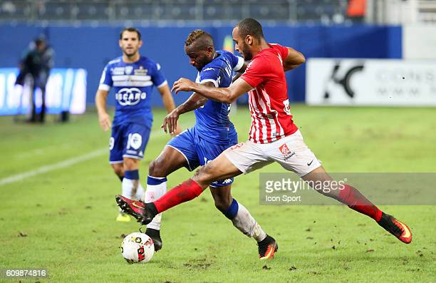 Lenny Nangis of Bastia and Tobias Nabila of Nancy during the Ligue 1 match between Sc Bastia and As Nancy Lorraine at Armand Cesari on September 21...