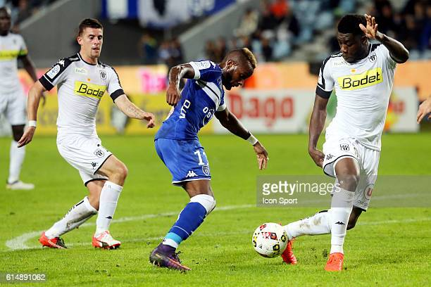 lenny nangis of bastia and vincent manceau and traore ismael of angers during the Ligue 1 match between SC Bastia and Angers SCO at Stade Armand...
