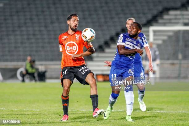 Lenny Nangis of Bastia Walid Mesloub of Lorient during the Ligue 1 match between SC Bastia and FC Lorient on May 14 2017 in Istres France