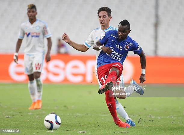 Lenny Nangis of SM Caen in action during the French Ligue 1 match between Olympique de Marseille and SM Caen at Stade Velodrome on August 8 2015 in...