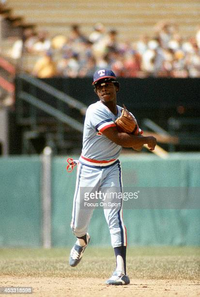 Lenny Randle of the Texas Rangers throws the ball to first base against the Baltimore Orioles during an Major League Baseball game circa 1976 at...