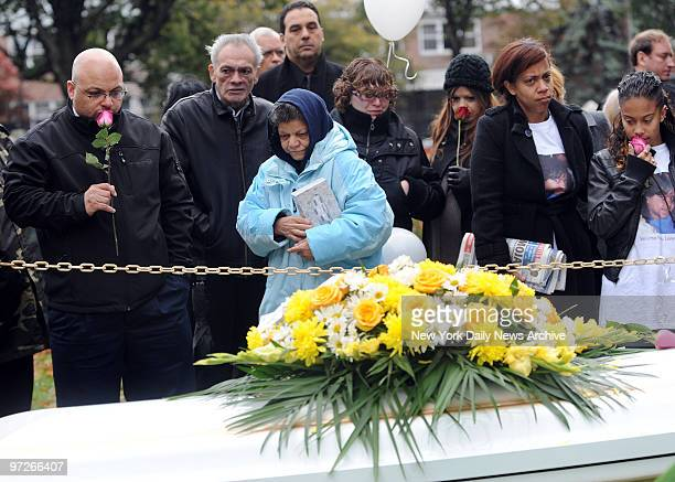 Lenny Rosado Joida Quinonez her mother and grandma Olga Rosado at funeral for Leandra Rosado who was killed when her friend's mother Carmen Huertas...