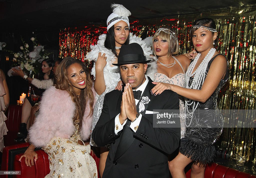 Lenny S., Ashley Weatherspoon and Adrienne Bailon celebrate during Fabolous' The Great Fabsby Birthday Celebration at Jazz Room at the General on November 18, 2013 in New York City.