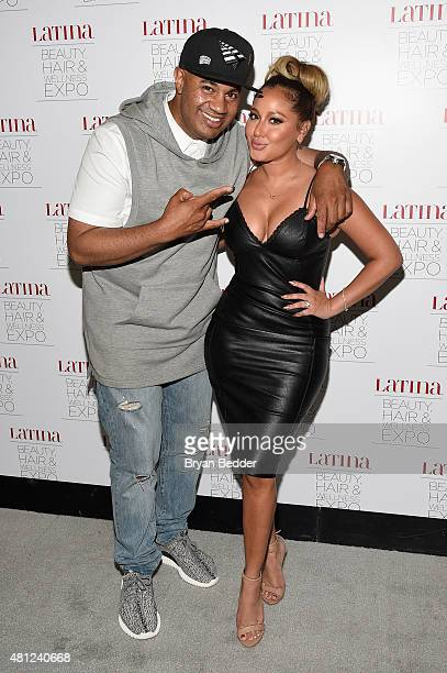 Lenny Santiago and Adrienne Bailon attend the Latina Beauty Hair Wellness Expo presented by Latina Media Ventures at Meadowlands Exposition Center on...