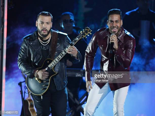 Lenny Santos and Romeo Santos of Aventura perform during the 2019 Billboard Latin Music Awards at the Mandalay Bay Events Center on April 25 2019 in...