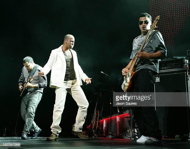 Lenny Santos Anthony Romeo Santos and Max Santos of the band Aventura perform at the Sprint Center on June 17 2010 in Kansas City Missouri