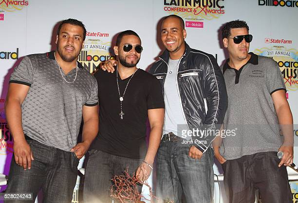 Lenny Santos Henry Santos Jeter and Anthony 'Romeo' Santos and Max Santos of Aventura of Aventura attend a QA with Aventura at Conrad San Juan...