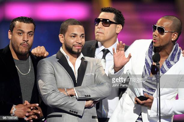 Lenny Santos Henry Santos Jeter Max Santos and Anthony 'Romeo' Santos of Aventura accept an award onstage at the 2010 Billboard Latin Music Awards at...