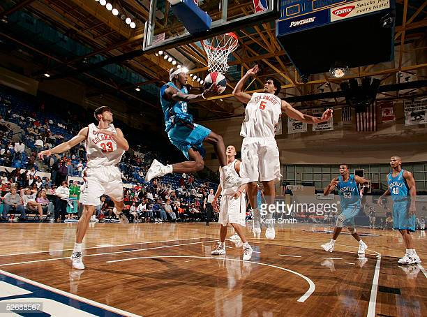 Lenny Stokes of the Columbus Riverdragons drives to the basket against the Asheville Altitude during the Championship Game on April 23 2005 at the...