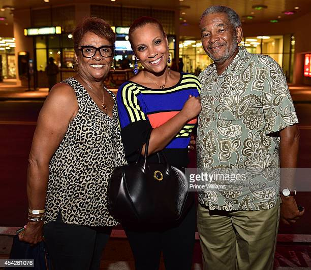 Lenny Thompson Heather Hayslett and James Thompson attend the Atlanta screening of No Good Deed at Strip Atlantic Station on August 27 2014 in...