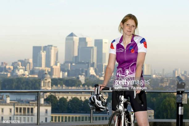 Lenore Russell from Highbury at the Greenwich Observatory in London before taking part in the Pedal To Paris 2010 cycle ride A Lance Sergeant in the...