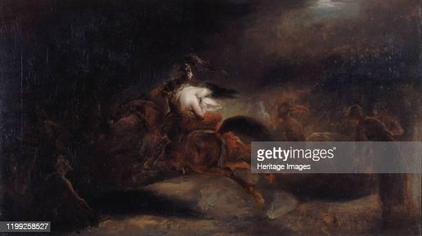 """Lenore. """"The dead travel fast"""", c. 1830. Found in the Collection of Musée de la Vie romantique, Paris. Artist Scheffer, Ary ."""