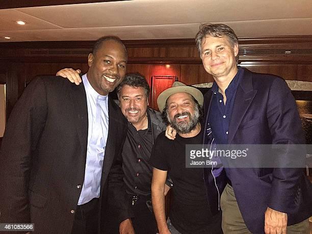 Lenox Lewis, Rick De La Croix, Thierry Guetta and DuJour Media Founder Jason Binn circa December 2014 in Miami, Florida.