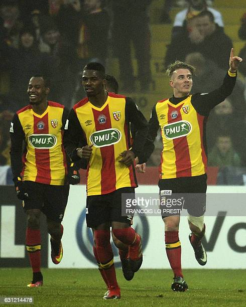 Lens' Benjamin Bourgeaud celebrates with teammates after scoring a goal during the French Cup football match between Lens and Metz on January 8 2017...