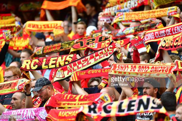 Lens fans during the French Ligue 2 match between RC Lens and Troyes at Stade BollaertDelelis on August 18 2018 in Lens France
