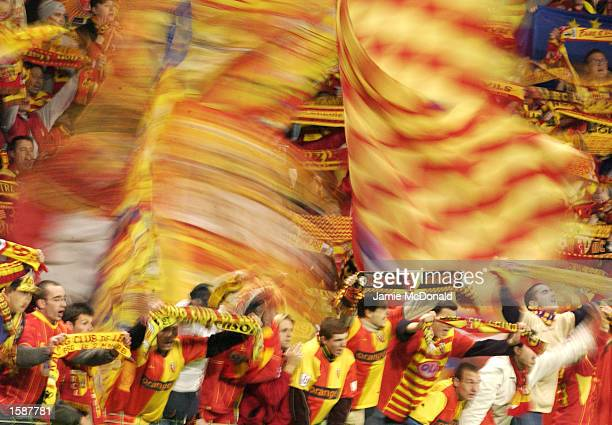 Lens fans during the UEFA Champions League First Phase Group G match between Lens v AC Milan on October 29 2002 played at the Felix Bollaert Stadium...