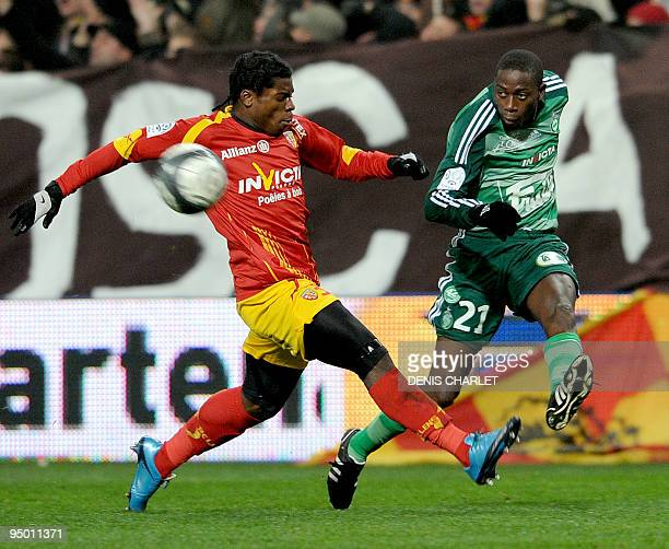 Lens' French defender Christopher Aurier vies with SaintEtienne's Senegaleese midfielder Mouhamadou Dabo during the French L1 football match Lens vs...