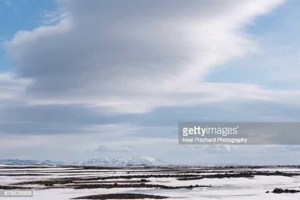Lenticular clouds forming over Iceland