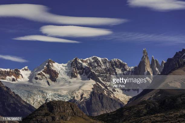 Lenticular clouds forming over the Adela Massif and Cerro Torre in Los Glaciares National Park near El Chalten Argentina A UNESCO World Heritage Site...