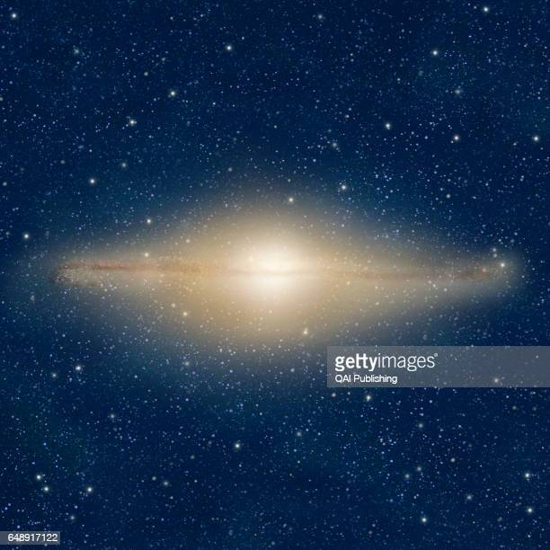 Lenticular galaxy Flat lensshaped galaxy with a large bulge but no arms