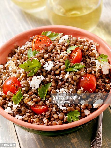 lentil and bulgur salad with feta and fresh spinach - lentil stock pictures, royalty-free photos & images