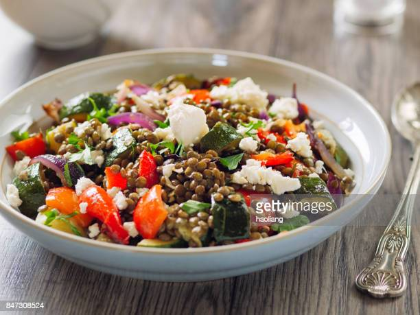 Lentil and roasted vegetable salad with feta cheese