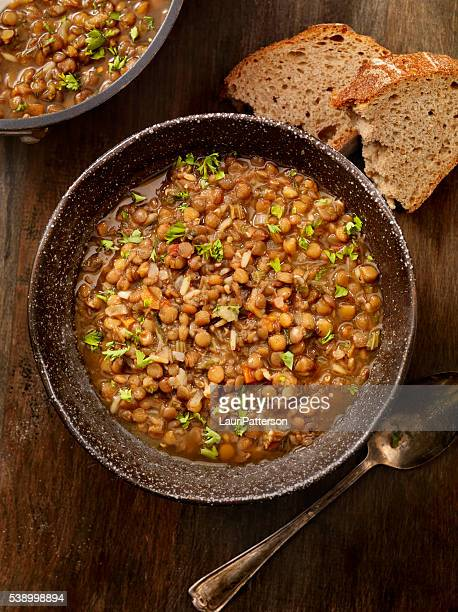 lentil soup with crusty bread - lentil stock pictures, royalty-free photos & images
