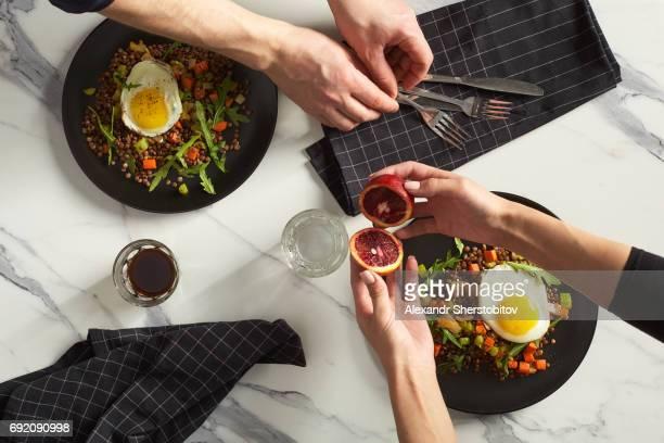 Lentil with vegetables and fried egg