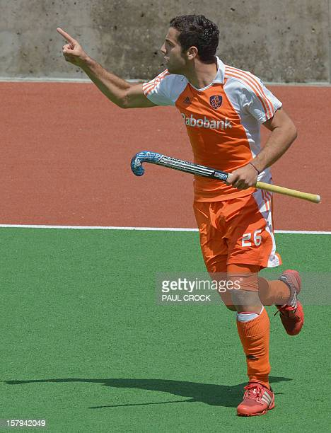 lentin Verga of The Netherlands celebrates his goal against Pakistan during their semi final match at the Men's Hockey Champions Trophy in Melbourne...