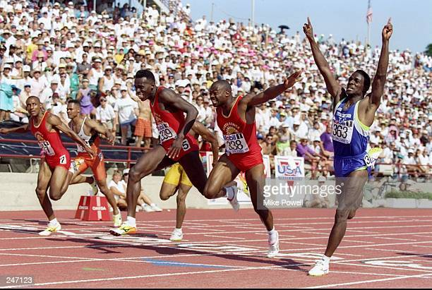 Leny Burrell, Tim Witherspoon, Carl Marsh and Dennis Mitchell finsh the men''s 100 meter final in the U.S. Track and Field Trials in New Orleans,...