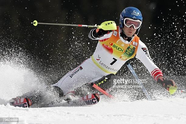 Lenzerheide, SWITZERLAND: Austria's Benjamin Raich competes during the men's slalom second run at the Alpine Ski World Cup finals in Lenzerheide, 18...