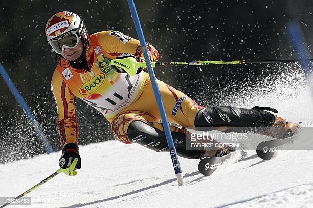 Lenzerheide, SWITZERLAND: Canada's Thomas Grandi competes during the men's slalom second run at the Alpine Ski World Cup finals in Lenzerheide, 18...