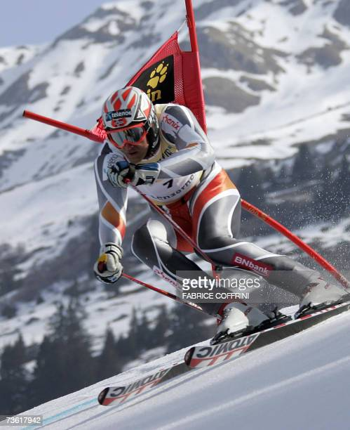 Lenzerheide, SWITZERLAND: Norway's Aksel Lund Svindal competes during the men's giant slalom first run at the Alpine Ski World Cup finals in...