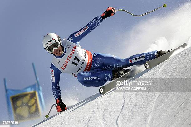 Swiss Bruno Kernen competes during the men's downhill at the Alpine Ski World Cup finals in Lenzerheide 14 March 2007 Kernen crashed and injured...