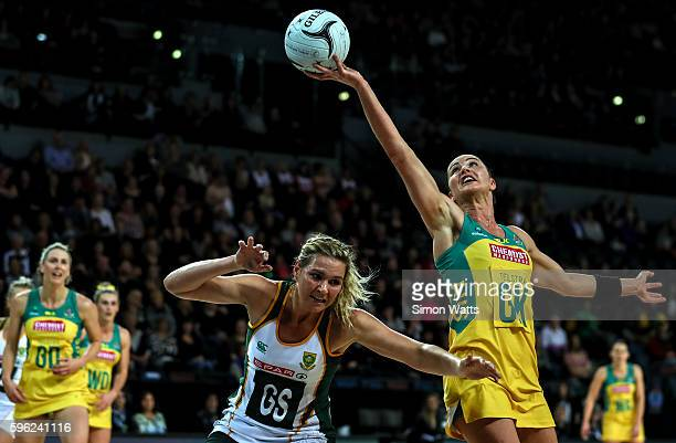 Lenzie Potgieter of South Africa looks to grab a pass from Sharni Layton of Australia during the International Test Match between Australia and South...