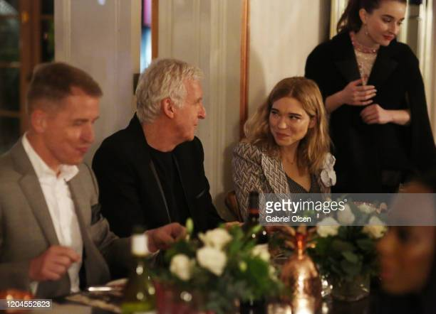 Lenzing Global Branding VP Harold Weghorst Director James Cameron and Léa Seydoux attend Red Carpet Green Dress at the Private Residence of Jonas...