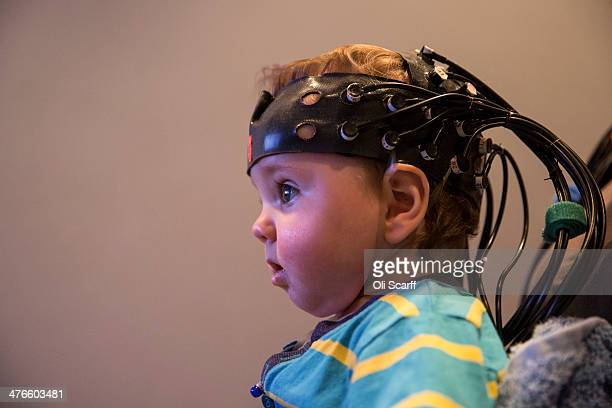 Leo aged 9 months takes part in an experiment at the 'Birkbeck Babylab' Centre for Brain and Cognitive Development on March 3 2014 in London England...