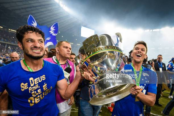 Leo and Henrique of Cruzeiro celebrates the title after a match between Cruzeiro and Flamengo as part of Copa do Brasil Final 2017 at Mineirao...