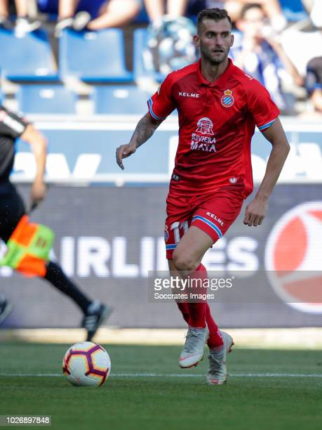 Leo Baptistao of RCD Espanyol during the La Liga Santander match between Deportivo Alaves v Espanyol at the Estadio de Mendizorroza on September 2...