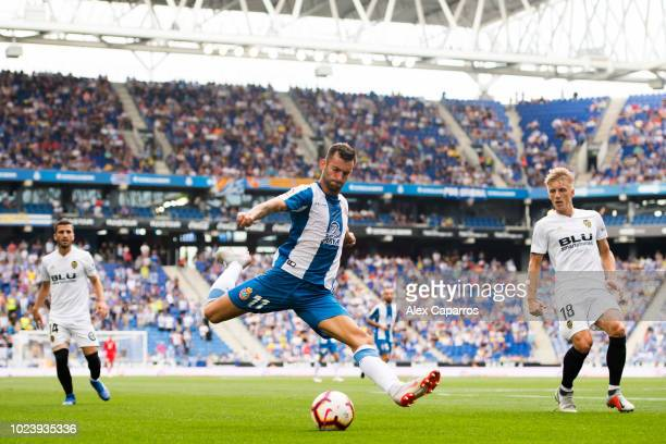 Leo Baptistao of RCD Espanyol plays the ball during the La Liga match between RCD Espanyol and Valencia CF at RCDE Stadium on August 26 2018 in...