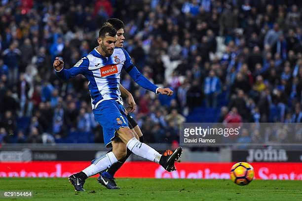 Leo Baptistao of RCD Espanyol scores his team's second goal during the La Liga match between RCD Espanyol and Real Sporting de Gijon at CornellaEl...