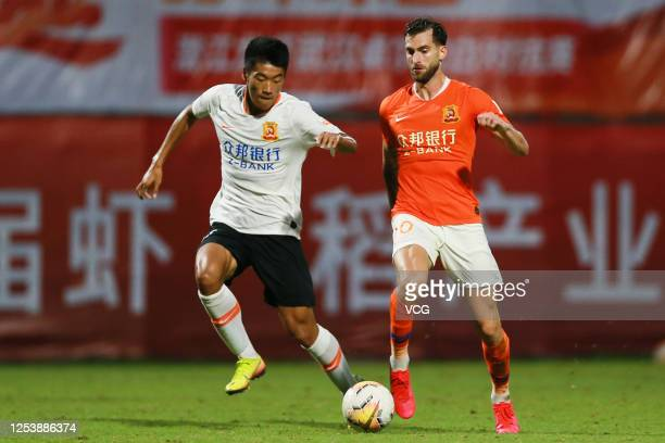 Leo Baptistao of Wuhan Zall Football Club attends a training session on July 2, 2020 in Wuhan, Hubei Province of China.
